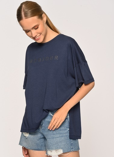 Loves You Bonjour Baskılı Loose Fit T-Shirt Lacivert